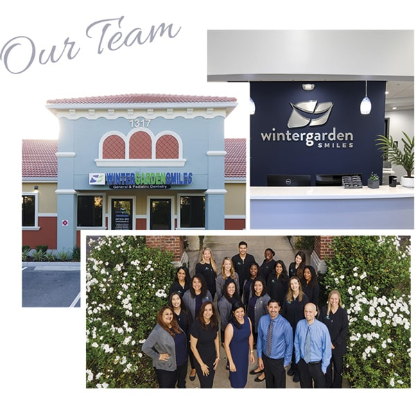 A collage of our dental office, team, and equipment