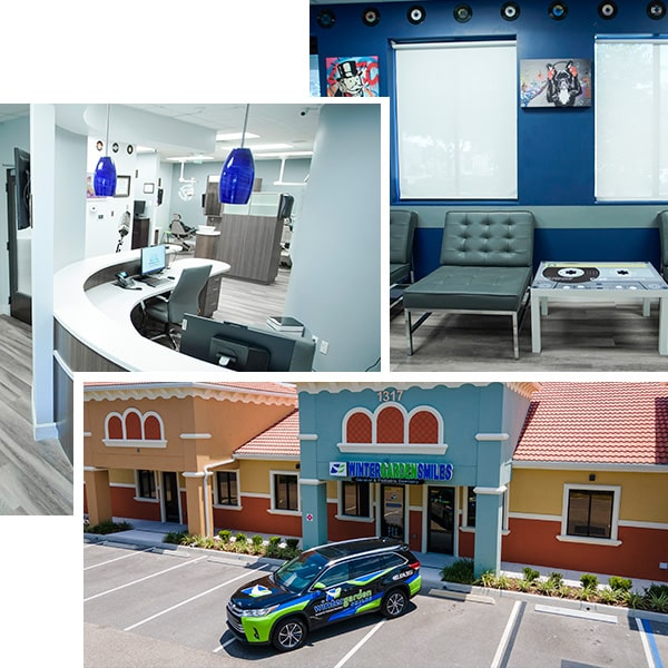 A collage of the Winter Garden dental office